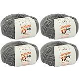 MyOma Babywolle Zum Häkeln * Merino Baby Grau (Fb 6050) * 4 Knäuel Merinowolle Baby Grau + Gratis Label – 25g/140m – Nadelstärke 2,5-3mm – Babygarn 100% Merino - Baby Babywolle Zum Häkeln Weich