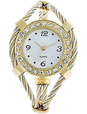 Armreifen Damen Uhr Quarzuhr Trend Damenuhr Armbanduhr watch Weiß