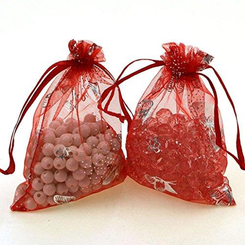 e Sheer Organza Geschenktüte Snack Candy Packet Beutel Dekoration für Geburtstag Hochzeit, feier, 9x12 cm (Rot) (Halloween-geburtstags-party Snacks)