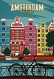 ComCard Amsterdam Netherland Fahrrad Canal Schild aus Blech Tin Sign