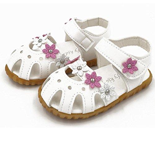 Chaussures de bébé,Fulltime® Kids filles causale été plat fleur fond mou sandale Shoes Blanc