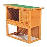 Conejera Madera Jaula para Conejos o Casa para Animales Pequeños 90x45x80cm Área de Juego
