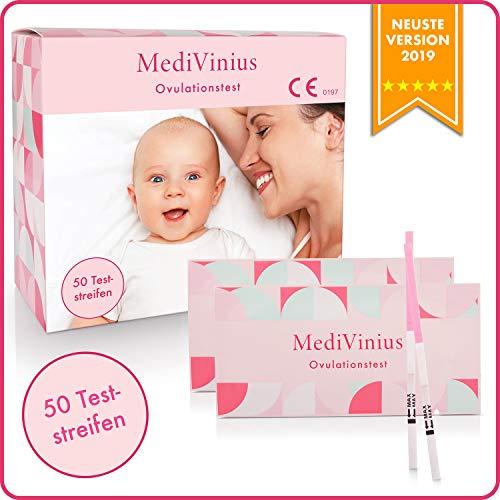 MediVinius® Ovulationstest 50 Streifen mit 25 mIU/ml - Fruchtbarkeitstest für Frauen - Teststäbchen für Ovulation Tests - Eisprung Teststreifen - praktisches Eisprung Messgerät - LH Teststreifen