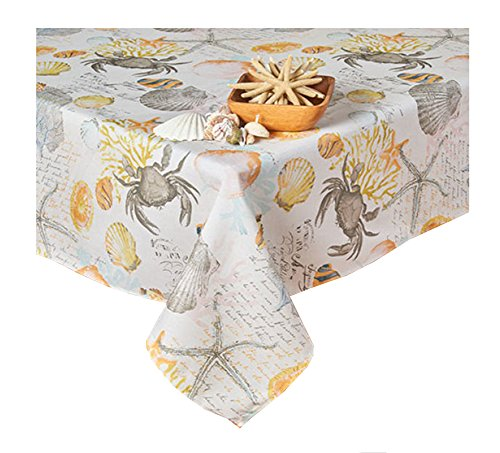 Newbridge West Bay Krabbe Seas Muschel Print Reißverschluss Regenschirm Stoff Tischdecke 70 Round Umbrella Ivory, Grey, Blue, Pink, Gold, Orange -
