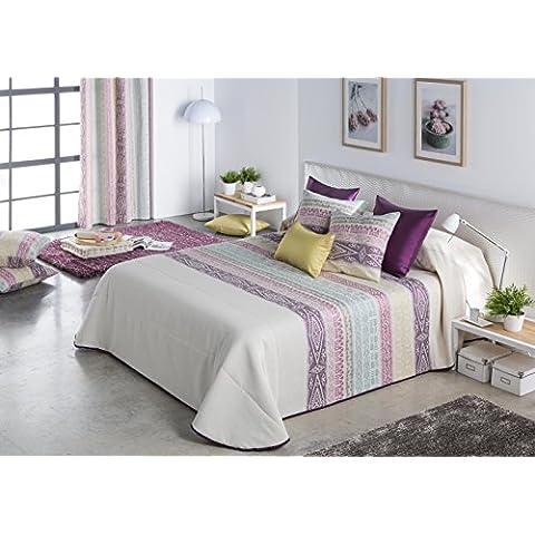 DECOARTESANAL-Colcha Bouti MIKONOS LILA + cojin, cama 105cm.