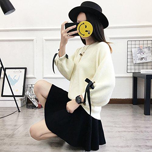 Dooxi Donne Casuale Girocollo Manica Lunga Pullover Maglione Elegante Sciolto Colore Solido Bowknot Maglia Tops Bianca