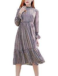 Donna Abiti Estivi Vintage Eleganti Fashion Vestiti in Chiffon Manica Lunga  Leggero con Stampa Anni 20 Vestito… 524e87fa09a
