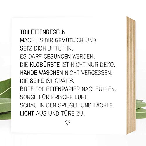 Toiletten-Regeln - einzigartiges Holzbild 15x15x2cm zum Hinstellen/Aufhängen, echter Fotodruck mit Spruch auf Holz - schwarz-weißes Wand-Bild Aufsteller Zuhause Büro zur Dekoration oder als Geschenk (Häuser-dekorationen)