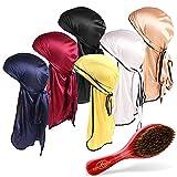 4 Pack Zijdeachtige Durag met Wave Borstel Elastische Hoofddoek Cap met Lange Staart voor Mannen & Vrouwen Haar Golven Durag L Style A (Wave Brush A+Durag 6 Pack Set)