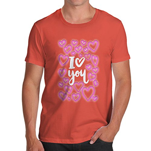 TWISTED ENVY Herren T-Shirt I Love You Neon Hearts Print Orange