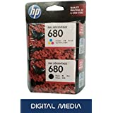 HP 680 Tri-color & Black Original Ink Advantage Cartridge [Set Of 2 Cartridge] -Special DIGITAL MEDIA Combo Offer