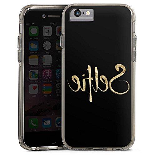 Apple iPhone X Bumper Hülle Bumper Case Glitzer Hülle Selfie Spiegel Gold Bumper Case transparent grau