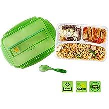 Fiambreras Bento-Box Caja de almuerzo Fiambrera de Silicona a prueba de fugaspara niños ,adolescentes y adultos con 3 compartimientos , una cuchara y sin BPA