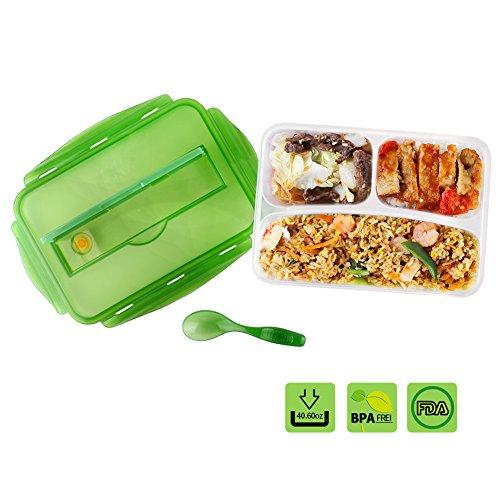 Plastik 1,2 L Luftdichte Auslaufsichere Bento Box Mit Drei Fächern Für Kinder Und JungenLunch-Box Mit Löffel BPA Frei Mikrowellenfest