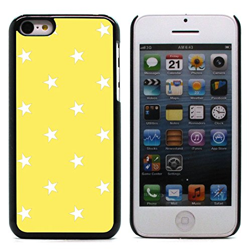 Graphic4You Sterne Muster Design Harte Hülle Case Tasche Schutzhülle für Apple iPhone 5C (Grau) Gelb