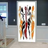 ZHKN Adesivi per Porte Danzatore 3D Motivi Murali Carta da Parati Adesivi Rimovibili Autoadesivi per Adesivi Murali Porta Camera da Letto E Soggiorno Decorazione della Casa 77X200CM