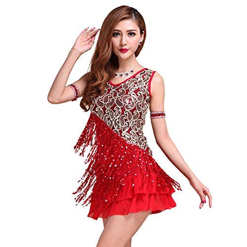 ESHOO Femme Latin Tango Salsa Cha Cha Ballroom Robe avec Paillette Vêtements de Danse Rouge
