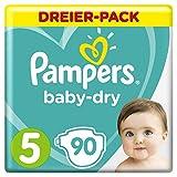 Pampers Baby-Dry Windeln, Gr.5, für Atmungsaktive Trockenheit, 90 Stück