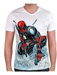Camiseta de hombre Deadpool Shooting Marvel blanco algodón - XL