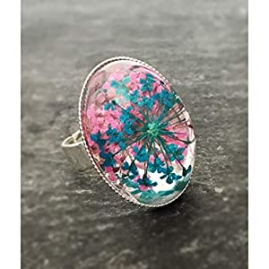 Damen Cabochon Ring mit echten Blüten handmade silber türkis/pink Dill Resin-Harz 18x25mm oval Statement Hingucker Geschenk-Idee Frau/Mutter/Freundin/Schwester Natur pur verstellbar