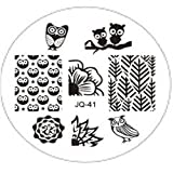 JUSTFOX - Nail Art Fashion Eule Nagelstempel Stempel Stamp Schablone Plates Template