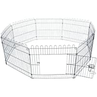 Pawhut –Recinto per Gatti Cani Cuccioli Gabbia perAnimali in Acciaio Φ158 x 61cm Nero