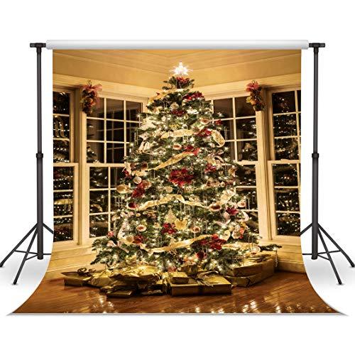 LYWYGG 10x10FT Weihnachten Hintergrund Indoor Weihnachtsbaum Hintergrund Holzboden Fotografie Hintergrund für Party Dekoration Studio Requisiten CP-93