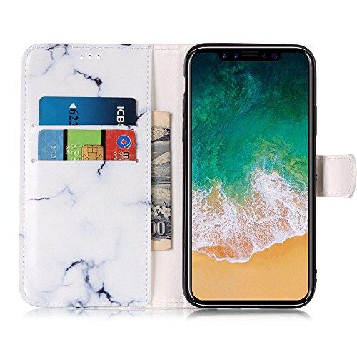CLM-Tech Custodia Pelle Sintetica per Apple iPhone X Flip Case con funzione supporto Acchiappa Sogni rosa grigio Marmo Modello bianco