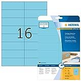 HERMA 4553colore etichette rimovibili, (105X 37mm auf DIN A4Carta opaca, autoadesivo) 320pezzi su 20fogli stampabile, Blu