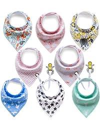 8 Triángulo Toalla bebé niño Babero lavable Cuello Baby con botones Multifunctional