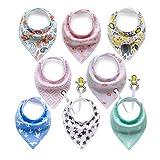 BeBeCute 8er Baby Dreieckstuch Lätzchen mit Schnullerkette und Verstellbaren Druckknöpfen Multifunctional, Super Absorbent & Soft Baumwoll, Mädchen