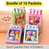 TIED RIBBONS Birthday Return Gifts for Kids, Childrens, Boys, Girls Fast Food bar Shaped Erasers Set Pack of 10 (Each Pack Contains : 4 Erasers)