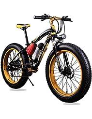 KINGTTU® Elektrofahrräder Mountainbikes Cruiser Mens -Fahrrad Schwarz Gelb Strand-Fat Tire-Fahrrad Shimano 21-Geschwindigkeiten Fat Tire 4,0 Zoll Federgabel Richbit RT-012 neu aktualisiert