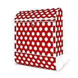 BANJADO Design Briefkasten weiß/38x47x13cm groß mit Zeitungsfach/Stahl pulverbeschichtet/Wandbriefkasten mit Motiv Punkte Rot, Briefkasten:ohne Standfuß