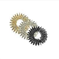 Preisvergleich für ROSENICE Akupressur Finger Ringe Massageringe Wellness massage zur Entspannung Pflege 3pcs (Gold+Silber+Schwarz)