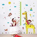 ufengke® Dibujos Animados Jirafa Lindo Niña Gráfico de altura Pegatinas de Pared,Vivero Habitación de los Niños Removible Etiquetas de la Pared / Murales