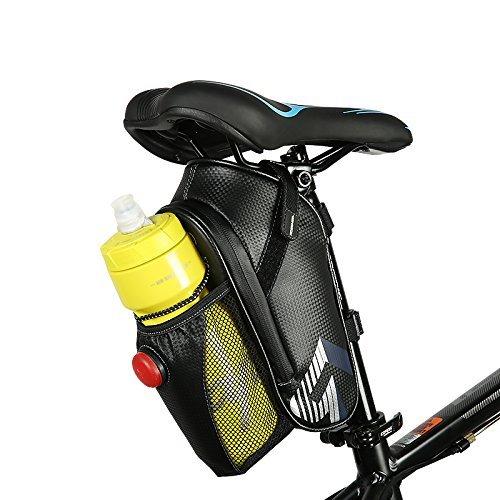 Tofern Satteltasche Fahrradtasche mit Flaschenhalter Rücklicht wasserdicht für Rennrad Rad, dunkleblau