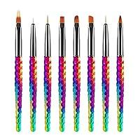 JMEOWIO 8PCS 3D Nail Art Brushes Set Colourful Nail Liner Ombre Brush Nail Painting Design Pen Brushes Acrylic Rainbow Honeycomb Handles Nail Art Pens for Nail Art Salon DIY