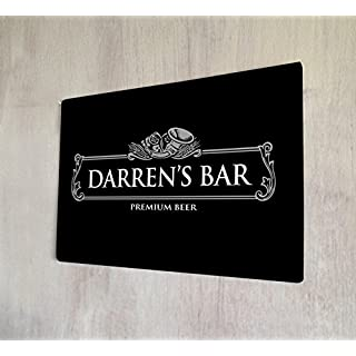 Artylicious Personalised black silver pub beer label A4 metal wall art sign