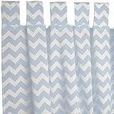 Sugarapple Dekoschal, Gardine, Vorhang (über 35 Farben wählbar) mit Schlaufen aus Baumwolle für Kinderzimmer und Babyzimmer. 2 Schals, Breite 143 cm, Länge 145 cm, Zic-Zack hellblau