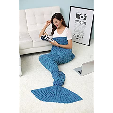 Manta De Lana Para El Sofá Con Forma De Cola De Sirena, Todas Las Estaciones Manta De Punto Dormer Croché Manta Sofá De La Sala (Turquesa)