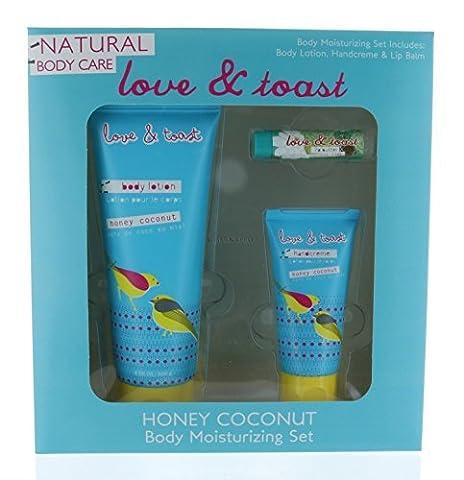 Combo Set Natural Body Moisturizing Honey Coconut 8 oz, Handcream, and Lip Balm by Love & Toast by Love & Toast
