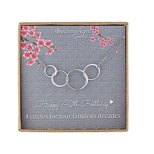 40 cumpleaños regalos para mujer - Plata de ley Infinity 4 círculo 4 décadas collar, día de la madre joyería