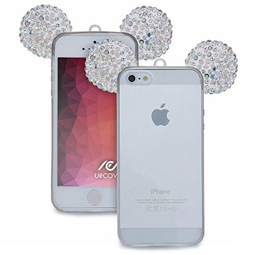 Urcover® Apple iPhone SE / 5 / 5s Handyhülle Maus Ohren Bling Ear Schutzhülle Case Cover Etui Crystal Bär Maus Ohren Girl TPU Diamant Gold Silber Silber Bunt