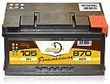 PKW Starter Auto Batterie 12 V/105 Ah - 870 A/EN Adler ers. 85 88 90 92 95 100 Ah