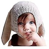Vinawo Cagoule Lapin en Coton Bébé Enfant Fille Garcon Hiver Crochet 6 mois 12 mois 18 mois 2 ans 3 ans