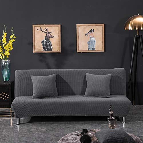 Monba Überzug für Sofa/Bett, ohne Armlehne, gestrickt, Sofa-Schonbezug Set, Möbelschutz, Jacquard, Stretch Couch Stuhl, Jaquard-Gewebe, grau, XL:195-225CM