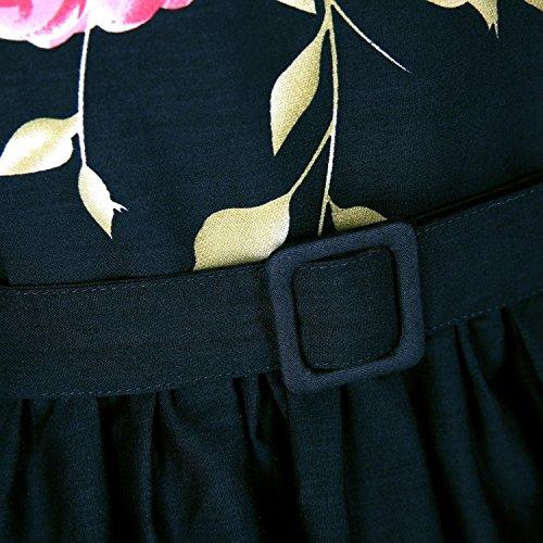 Oriention 1950s Rockabilly Kleid Blumenkleid Vintage Retro Partykleider Cocktailkleider Sommerkleid damen Knielang Schwarz