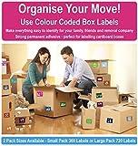 Heim Moving farbcodierter Kiste Etiketten / Aufkleber - Ordnen von ihr Haus Umzug - Small Pack - 360 Stickers