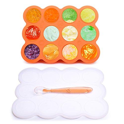 BALFER Silikon Babynahrung Aufbewahrung Behälter Zum Einfrieren Babybrei mit Silikondeckel, BPA-frei & FDA Zugelassen, Für Alle Baby & Kinder, mit 1 Silikon Baby Löffel, Orange